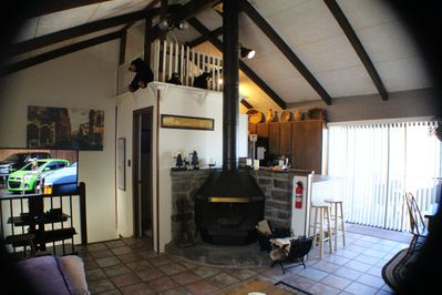 View of the fireplace and bear's loft.