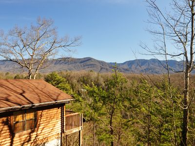 "Photo for ""Cuddler's View"" is an adorable one level studio cabin with an amazing view of the mountains"