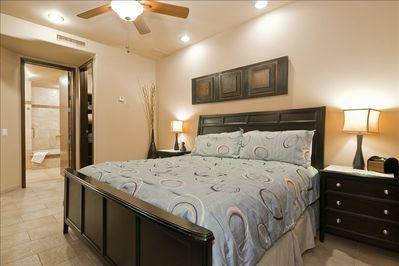 Master Bedroom with Ocean View, Patio off Room and a King Size Bed
