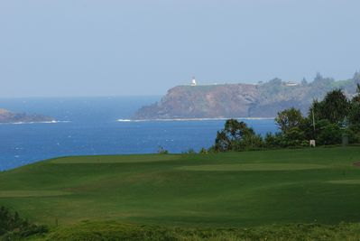 View from the lanai across the golf course to the Kilauea lighthouse.