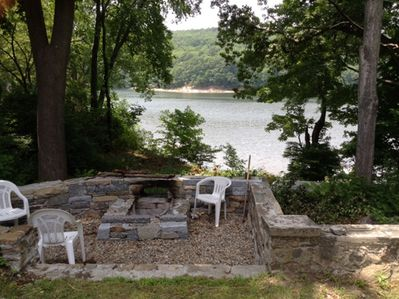Fire pit overlooks river