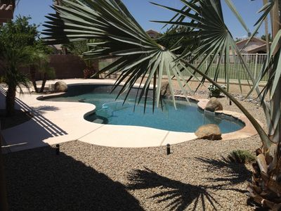 Pebble Tech pool and incredible landscaping