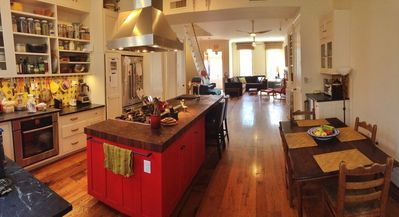 Open plan kitchen, living and dining.