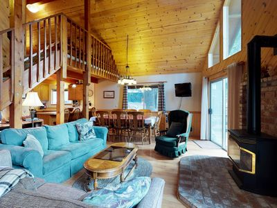 Photo for NEW LISTING! Bright family friendly cabin with shared pool, games, near skiing