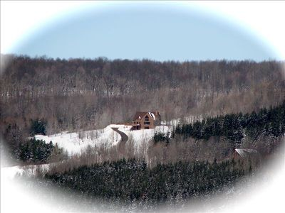 View of 5 Acre Mountain Top Property from Holimont Ski Slope