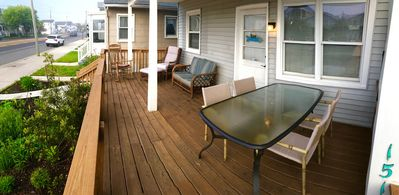 Spacious deck to relax in lounge chairs or eat a meal and enjoy an ocean breeze.