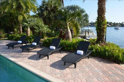 Spectacular Heated Pool Area Offering Breathtaking Unobstructed Water Views...