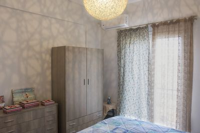 Spacious bedroom with draws and closet for your clothes and personal belongings