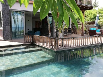 Photo for detached waterfront villa, quiet area, swimming pool, jacuzzi, garden