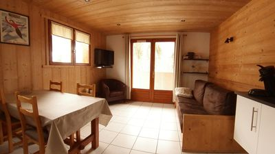 Photo for 4 person apartment with wifi, 400 m from the slopes of Grand Bornand