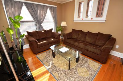 """Living Room With 50"""" TV, Cable, DVD/Blu-Ray Player, Board Games & Playing Cards"""