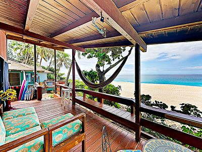 Photo for New Listing! Charming Beachfront Redwood Cottage w/ Tropical Lanai