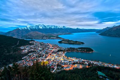 Queenstown at sunset from Skyline.