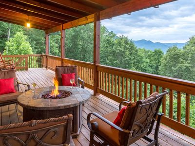Photo for Smoky Mountain home with multi-level deck, hot tub, sauna - mountain views!