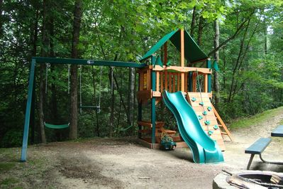 Twin Creek Cottage Playground keeps kids entertained for hours!