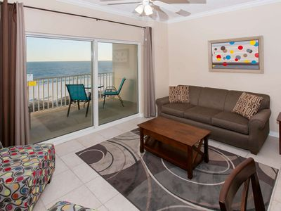 Photo for Updated 1/1 Gulf-Front, Slps 6, Blcny, WiFi, W/D, Pool/Hot Tub/BBQ, Free Activities - Tidewater 807