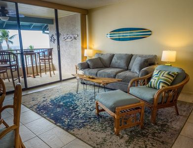 Relax and watch the waves right from the couch in the air conditioned livingroom