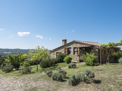 Photo for Bright and panoramic stone farmhouse, overlooking the sea, in nature