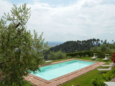 Photo for Stunning private villa with WIFI, private pool, TV, terrace, panoramic view, parking, close to Lucca