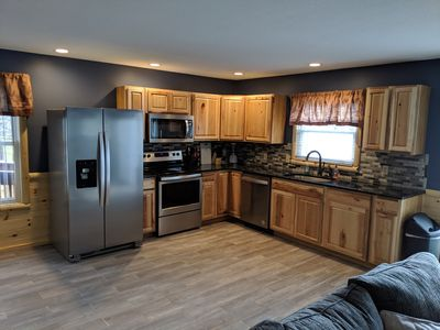Kitchen. All Stainless Steel Appliances, Hickory Cabinets and Granite Countertop