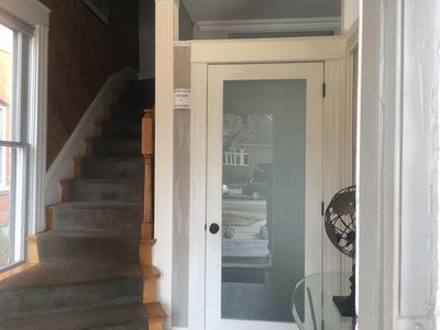 Secure entry with privacy door to main house