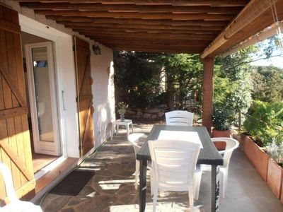 Photo for Mini Villa Porto Vecchio Santa Giulia Beach 400m feet. Clim. BBQ terrace