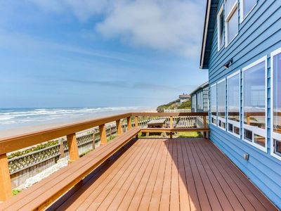 Photo for Oceanfront home with hot tub on miles of sandy beach near Yachats! Dog Friendly! FREE NIGHT!