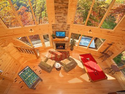 Photo for Amazing 2 bedroom Romantic Cabin - 18 Foot Rain Tower Shower