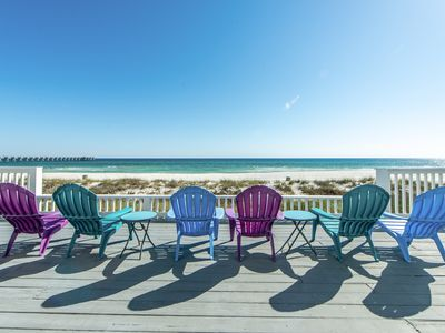 Photo for Fishers☀BEACHFRONT for 20☀OPEN Aug 3 to 6! Gulf Front Decks-Walk 2 Pier Park