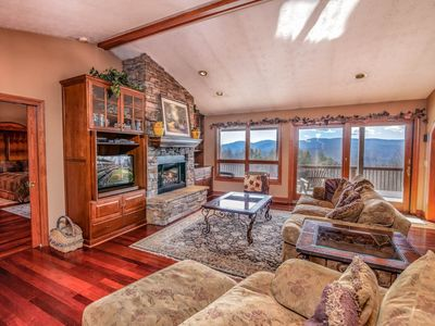 Photo for 4BR/2.5BA Mountain Home with Beautiful View, Hot Tub, Pool Table, Foosball Table, King Suites, Plenty of Yard Space!