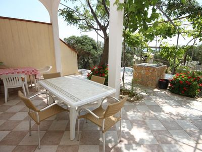 Photo for One bedroom apartment with terrace and sea view Cove Dražica, Pag (A-6366-b)