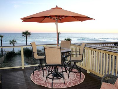 Photo for Beach Side West, 3 story townhouse, patio and two decks, directly on the beach.
