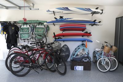 All the beach toys are included for usage:  Bikes, Chairs, Boogie & Surf boards