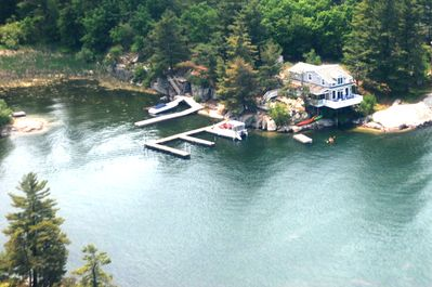 Our cottage is protected in cove with plenty of deep water dock and swimming.