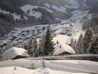 View down to the village in wintertime (Jan., Feb.)