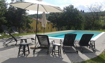 Our big 5 x 12 metre swimming pool set above the house