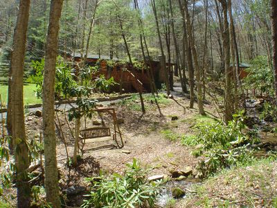 """Photo for """"CREEKSONG"""" Darling Cabin with Outdoor Fireplace, Bubbling Hot Tub & WiFi!"""