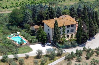 aerial picture of the villa