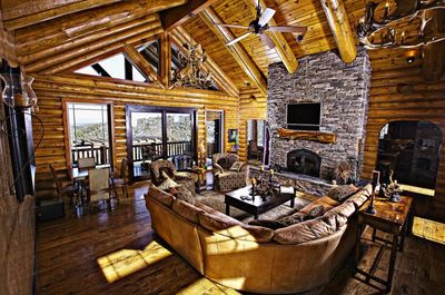 Impressive views, 20' vaulted ceilings and the warmth of a stone fireplace!