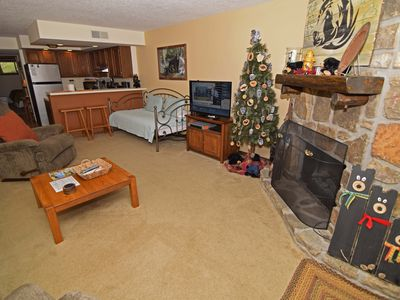 Photo for 1 King Bedroom/1 Bath Condo, Electric Fireplace, Covered Patio, On Site Pool