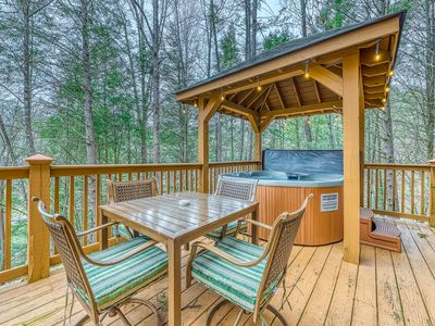 Photo for Dog-friendly home w/ wood accents, a private hot tub, huge deck, & game room!