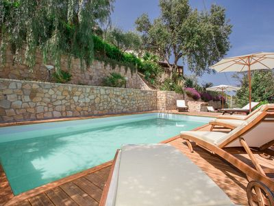 Photo for Unique pool villa with sea views, 3 km from Cefalu and beaches