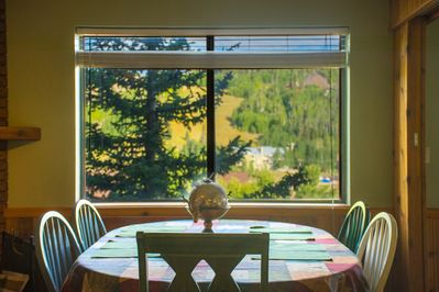 Dining table with views of Navajo Mountain