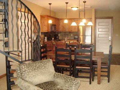 Sitting in the Living Area, looking into the Dining Area and Kitchen