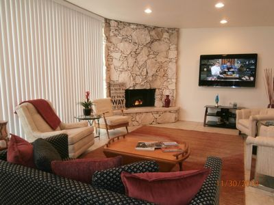 "Gas fireplace & 60"" smart TV for your comfort & entertainment."