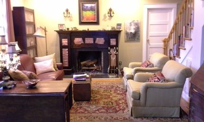 Living room with wood burning fireplace. Fire wood provided.