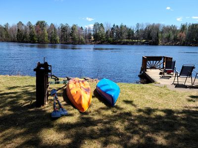 Year round home on WI River/Lake Alice, private dock, on ATV/snowmobile trail.