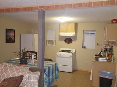 Open kitchen and dining area. All dishes and silverware provided.