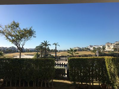 Photo for Well equipped 2 bed apartment with a small garden overlooking the golf course