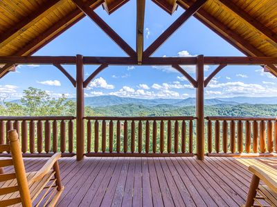 Photo for NEW LISTING! Mountain view cabin w/ shared pool, private hot tub, & game room!